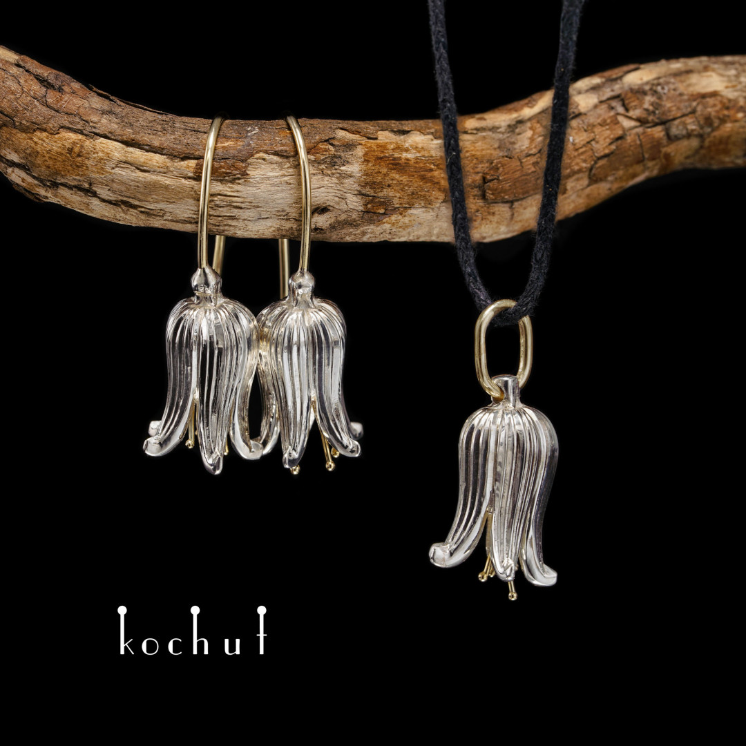 Bells — jewelry set made of silver and gold