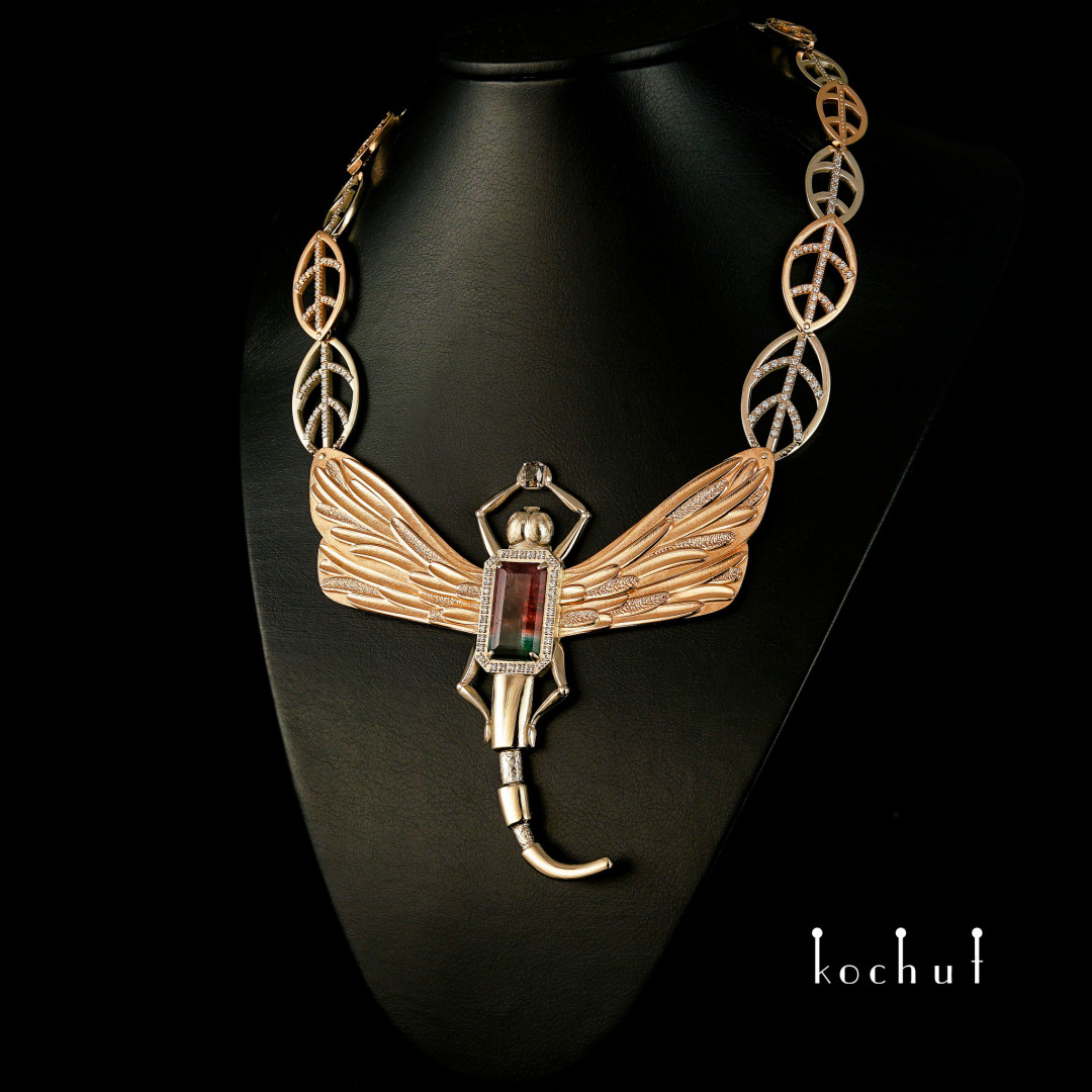 Necklace «Fragrance ofthe Universe». Red and white gold, tourmaline, diamonds