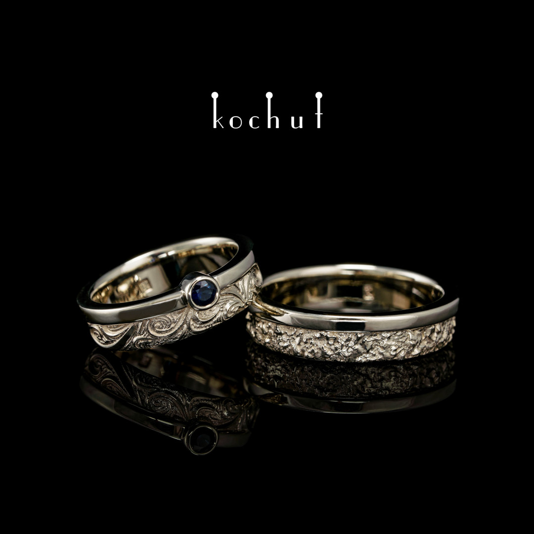 Wedding rings «In joy and in sadness. Halves.» White gold, sapphire