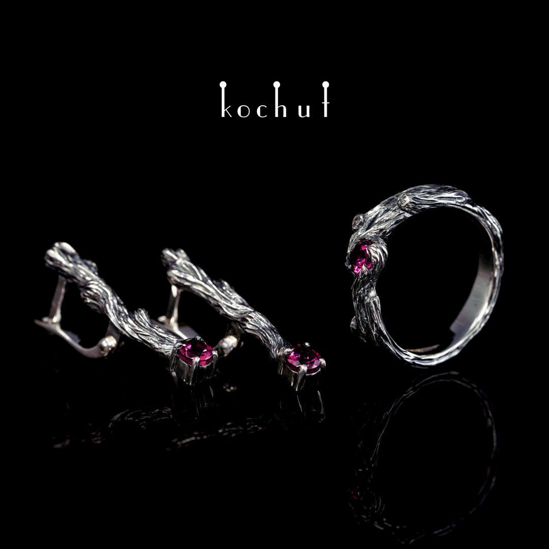 Set «Little Twigs». Silver, oxidation, rhodolite garnets