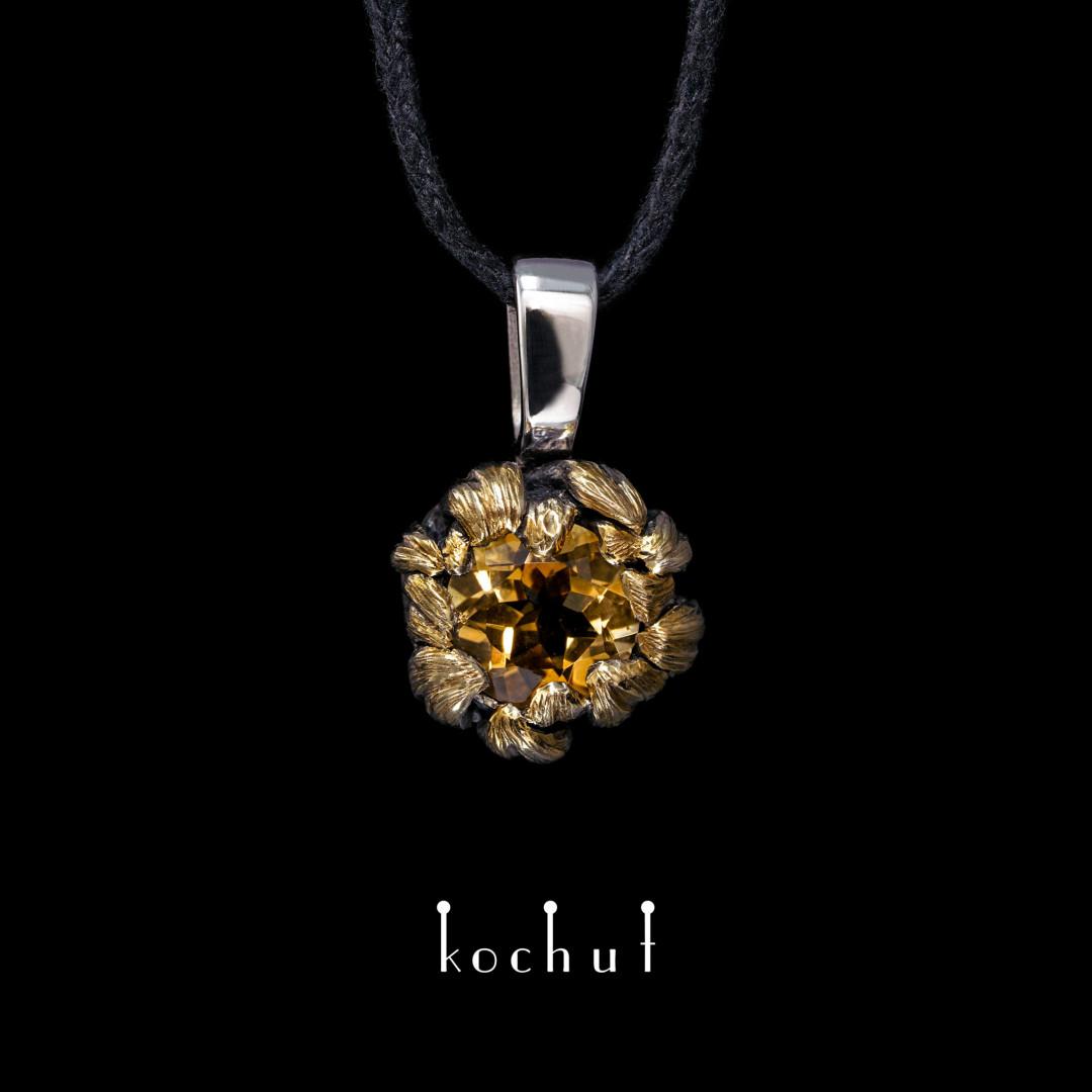 Peony — silver pendant with citrine