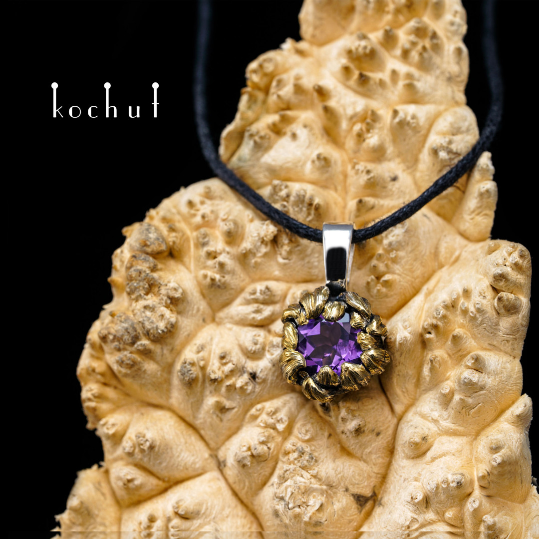 Peony — silver pendant with amethyst