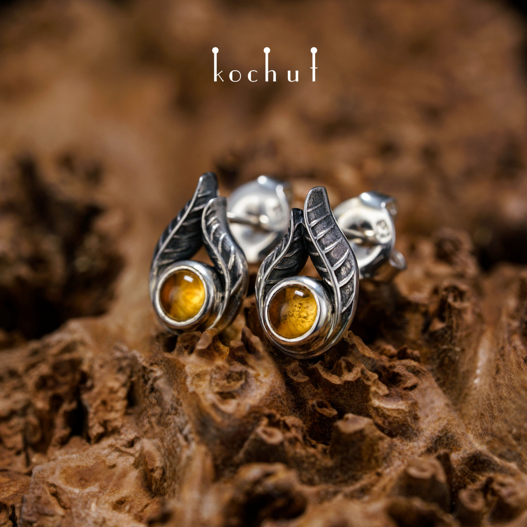 Earrings-studs «Passionate look». Silver, citrine, oxidation