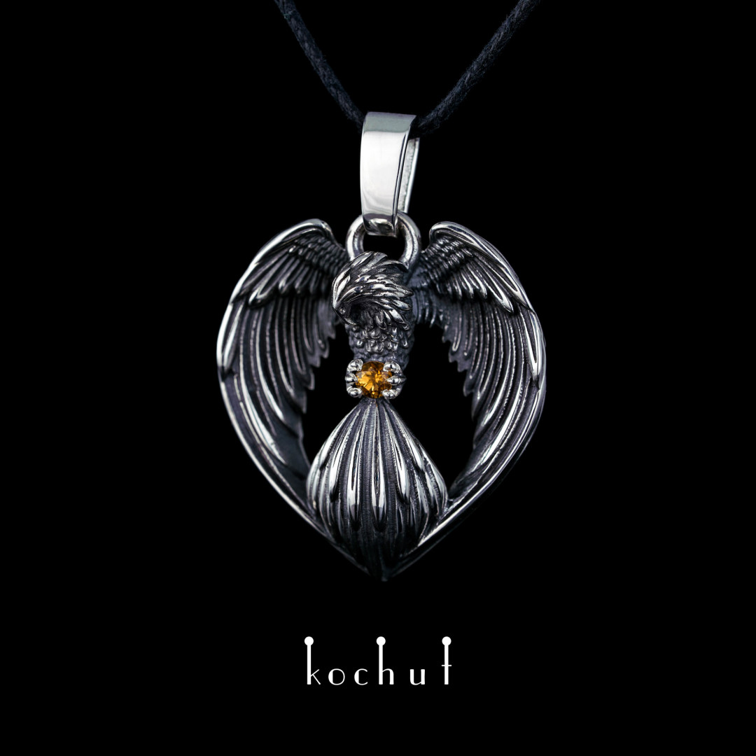 The pendant «Phoenix ». Silver, oxidation, citrine