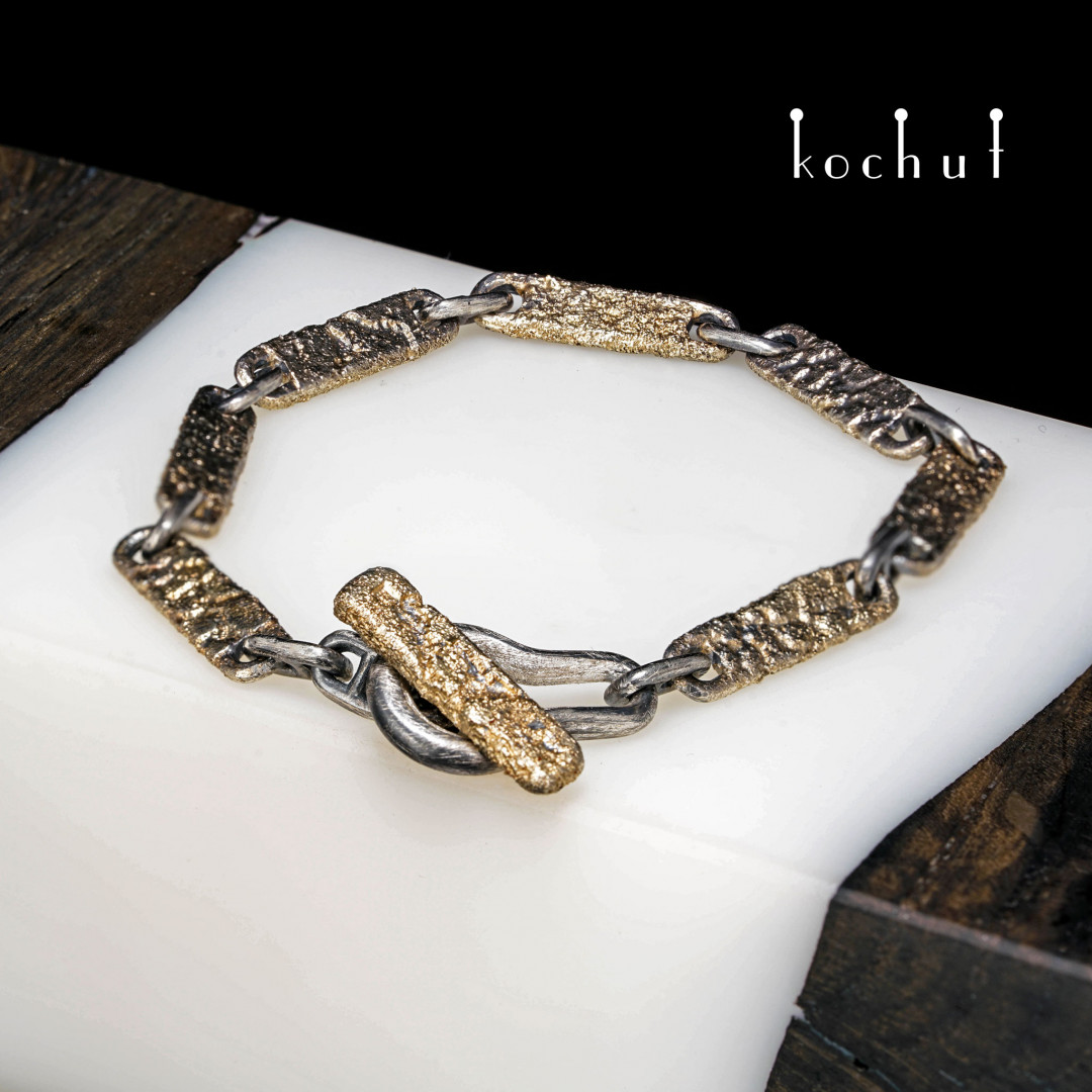 Bracelet «Soul and body.» Yellow gold, silver, oxidation