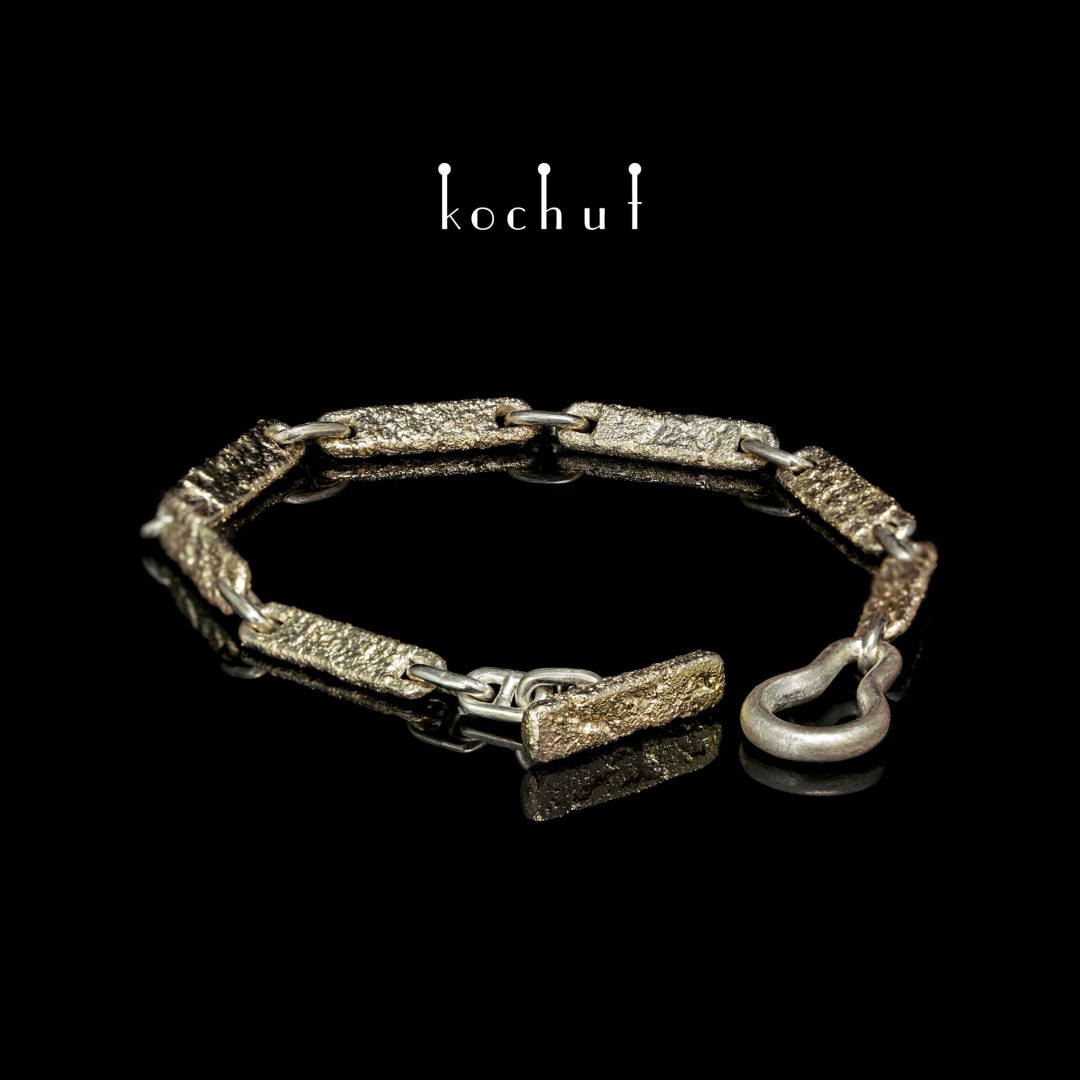 Bracelet «Soul and body.» Yellow gold, silver