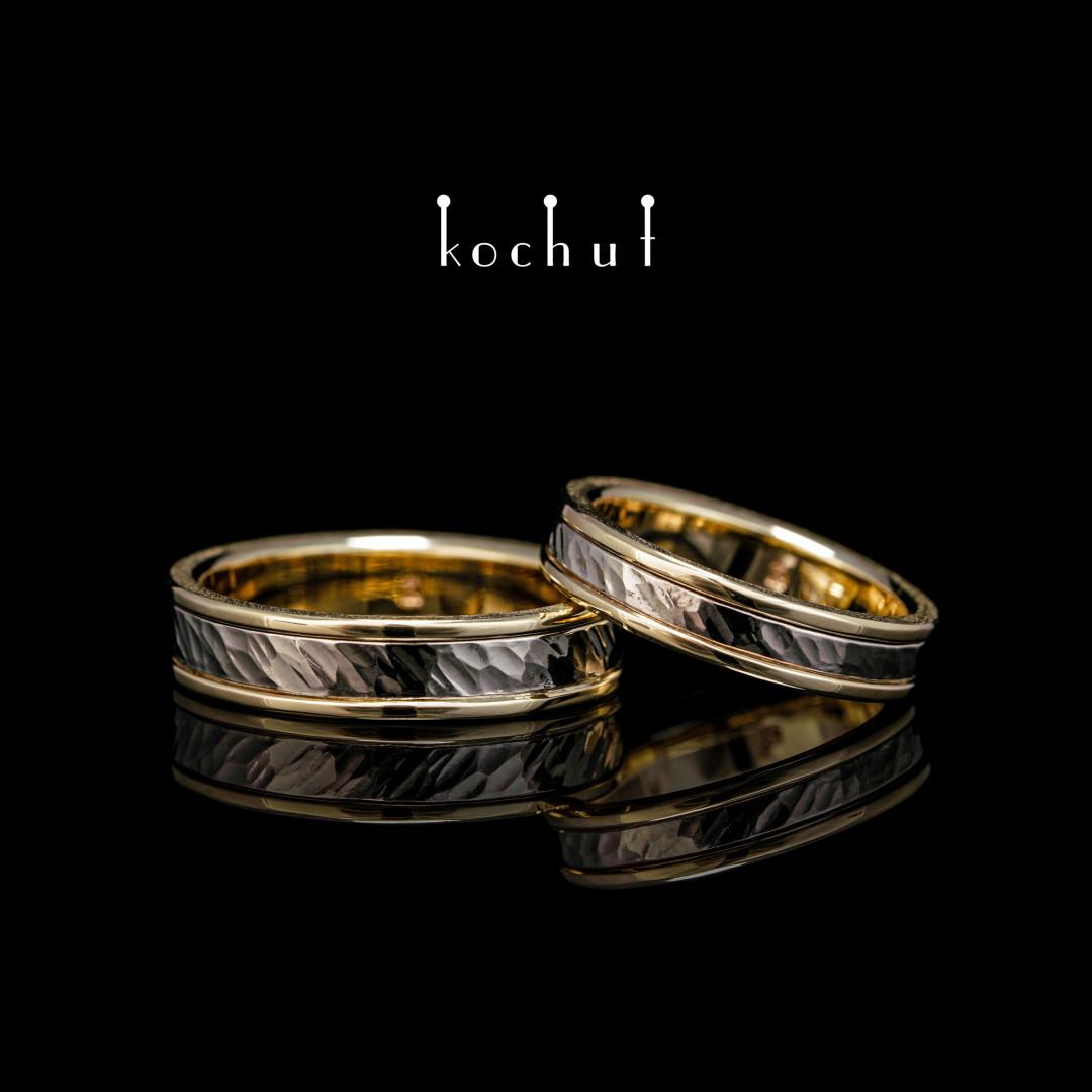 Wedding rings «Memoria». Palladium and yellow gold