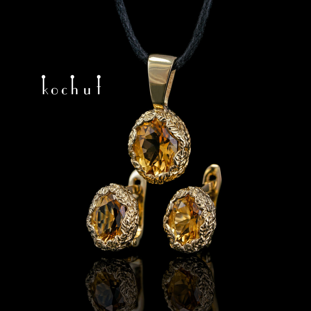 Set «Source of Life». Yellow gold, citrines