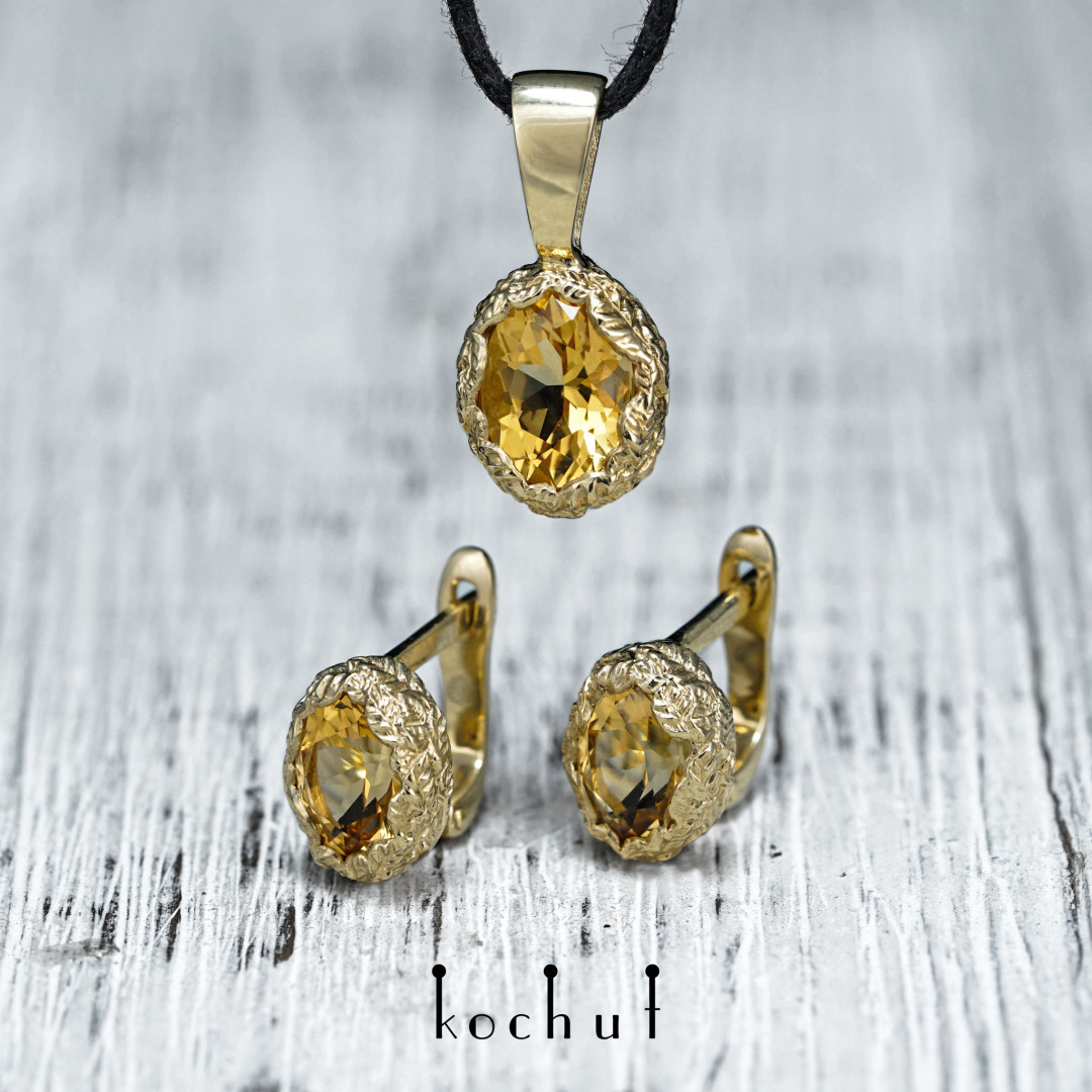 Source of Life — gold jewelry set with citrines