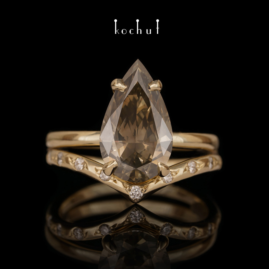 Double engagement ring «Elven tenderness». Yellow gold, diamonds