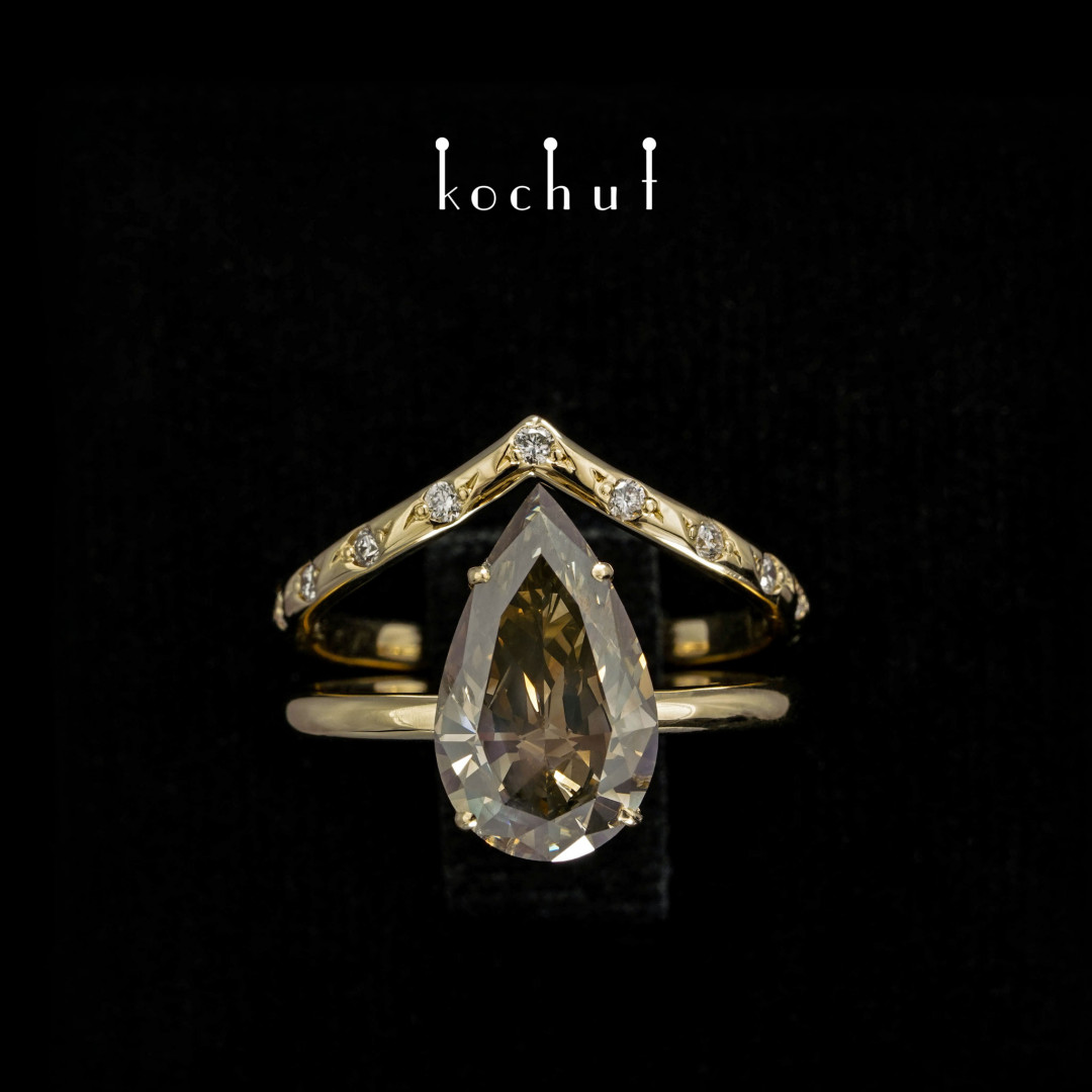Double ring «Elven tenderness». Yellow gold, diamonds