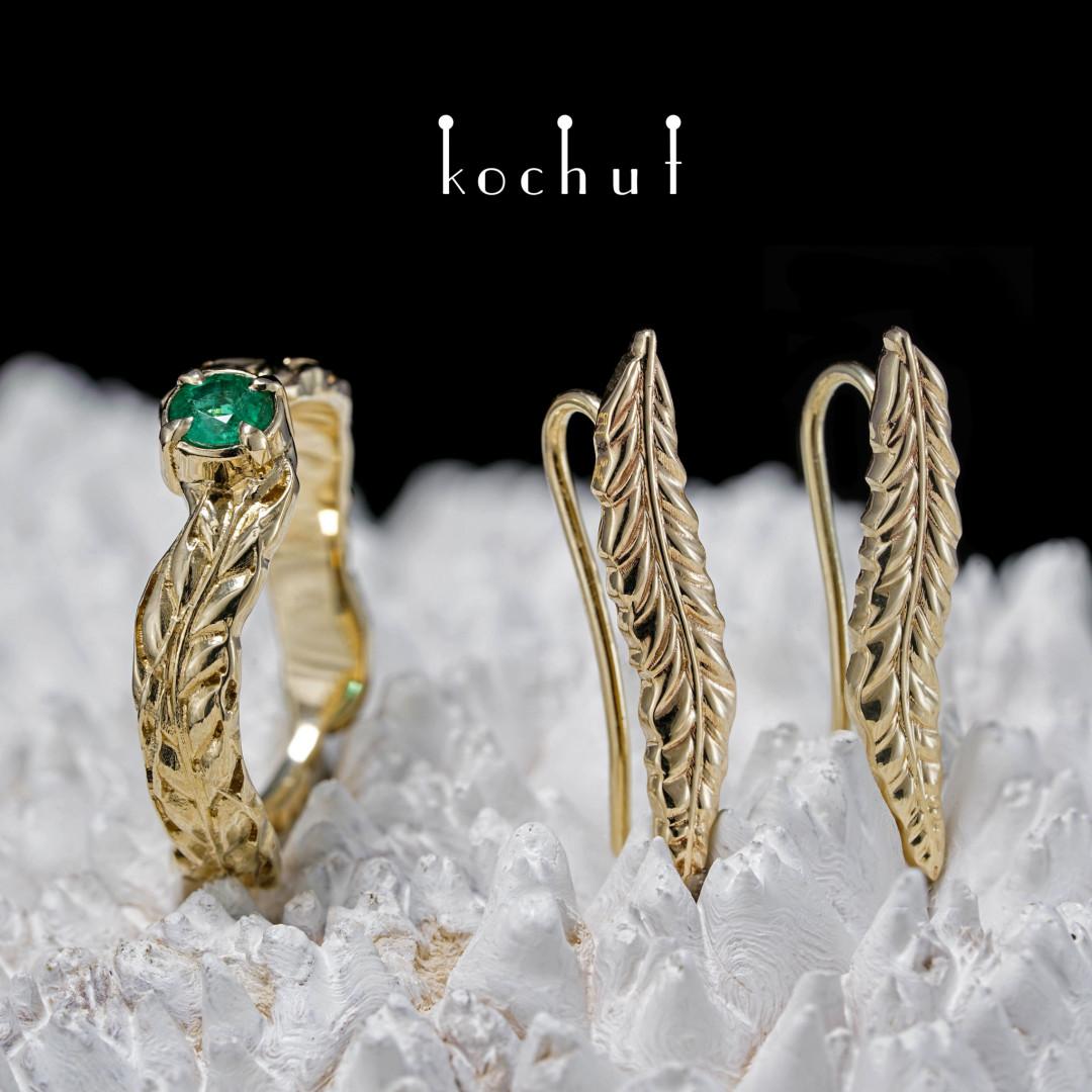 Spikelets — a golden set with an emerald