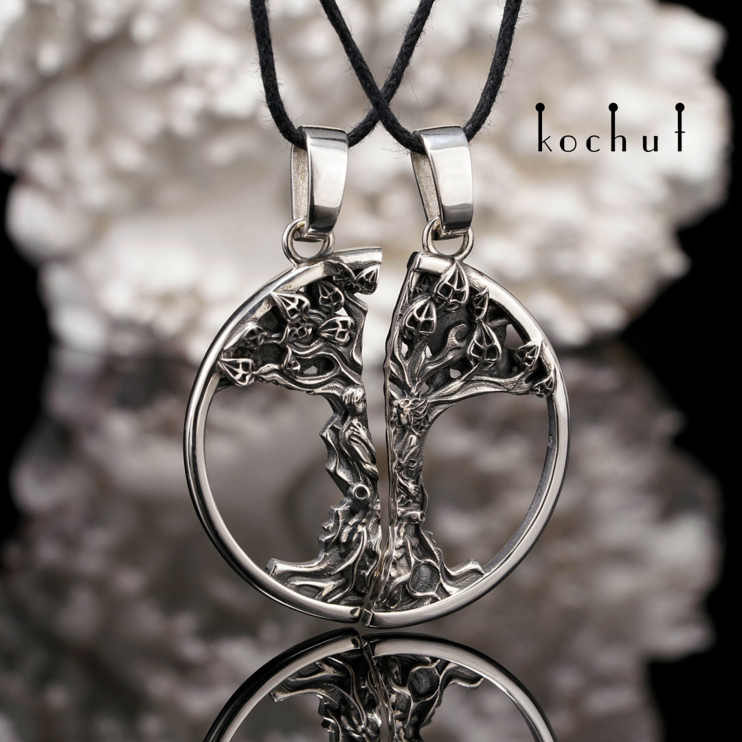 Initial Love — silver double pendant