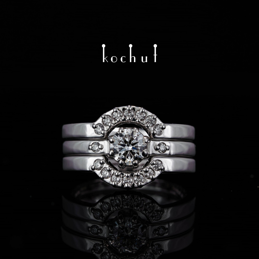 Ring «Meridian». White gold, diamonds, white rhodium