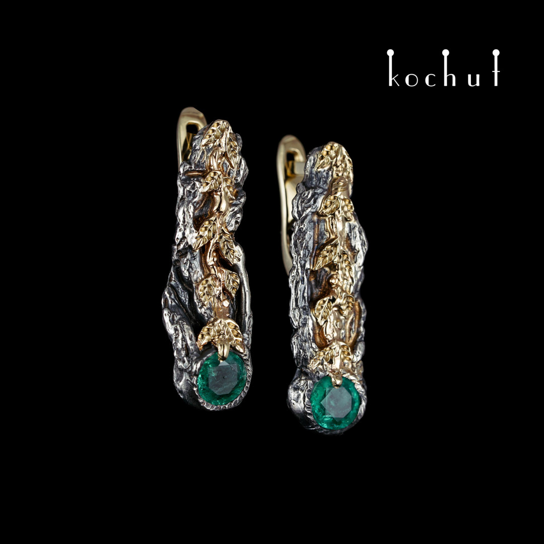 Earrings «Life Force». Gold, silver, emerald
