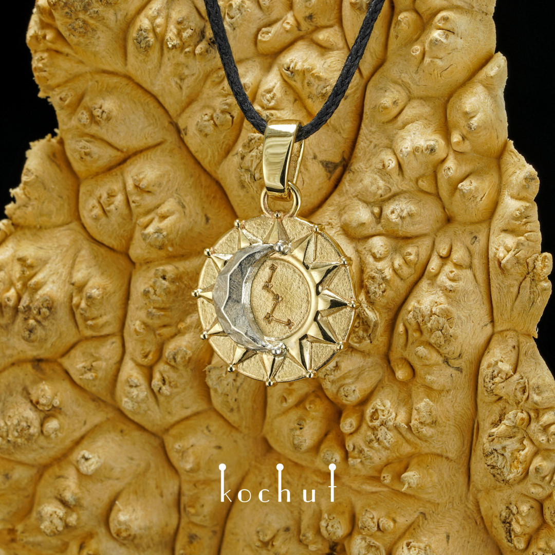 Sun and moon — pendant made of gold and silver