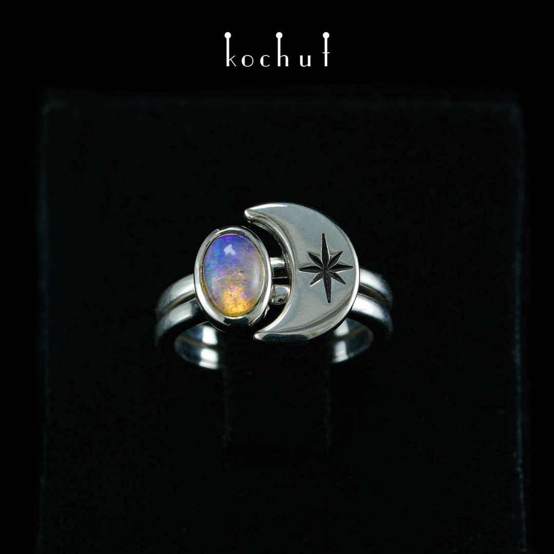 Ring «To the moon and back». Silver, opal, oxidation