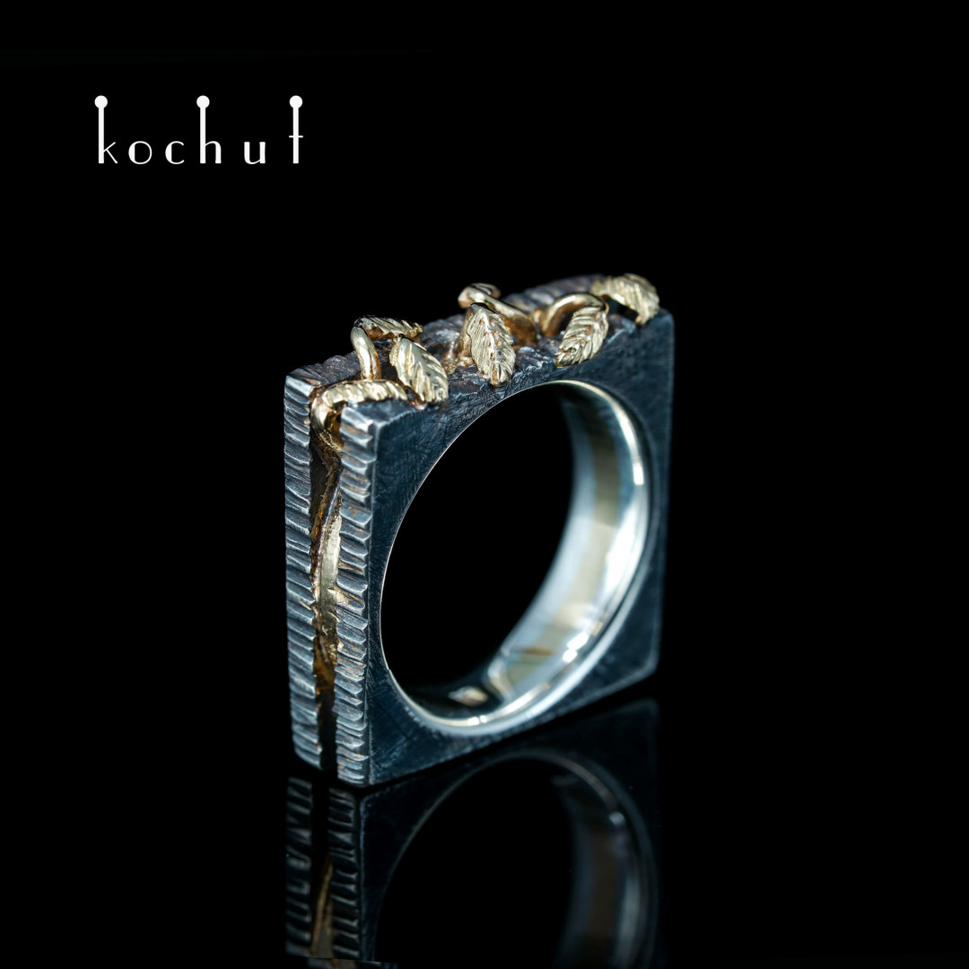 Ring «Potential». Yellow gold, silver, oxidation