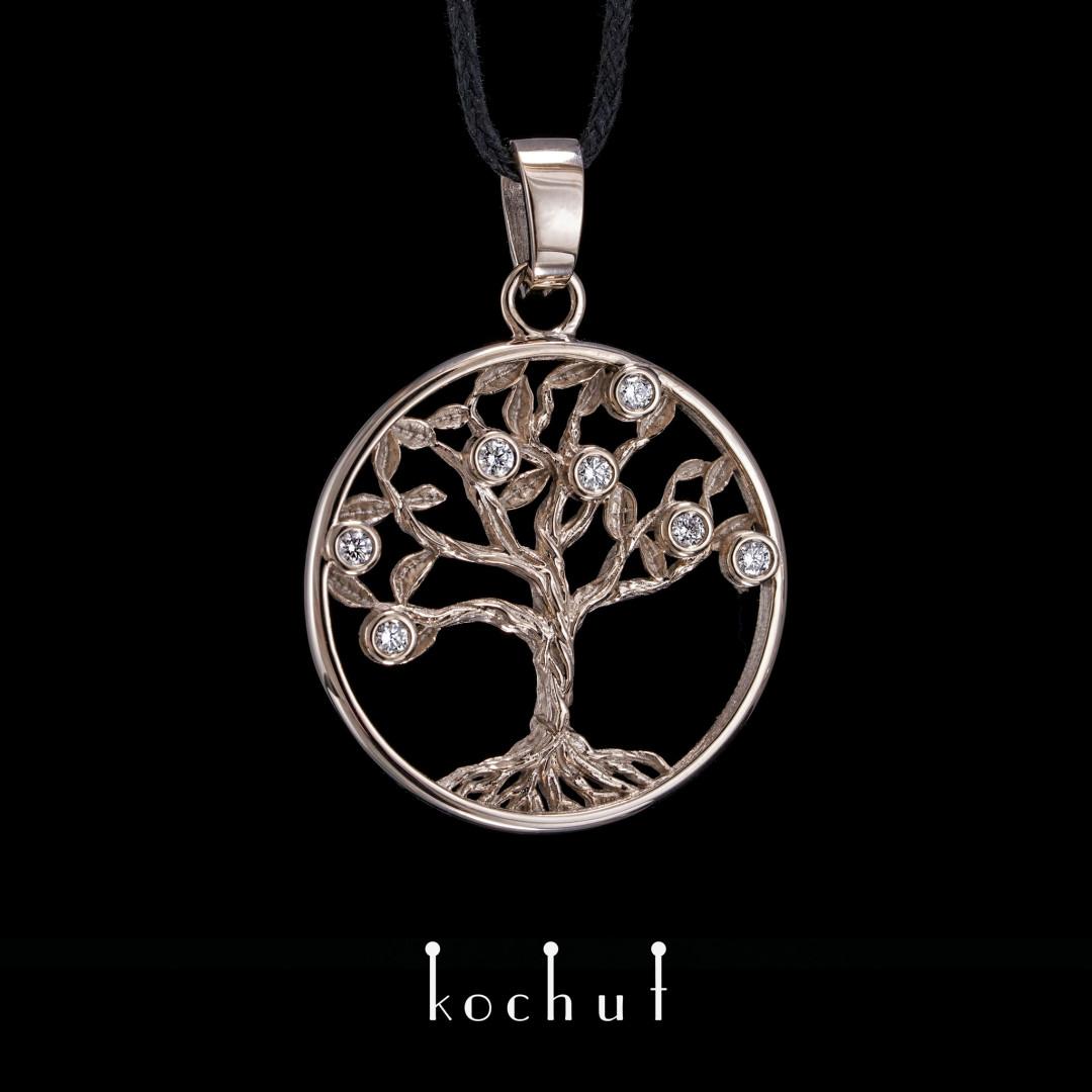 Pendant «Tree of life». Palladium gold, diamonds