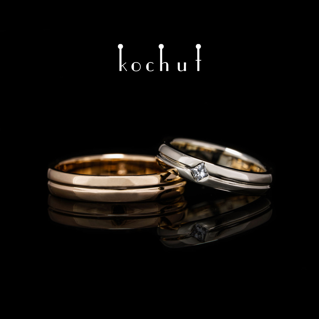 Narrowed wedding rings «Axis of Love». White and red gold, diamond