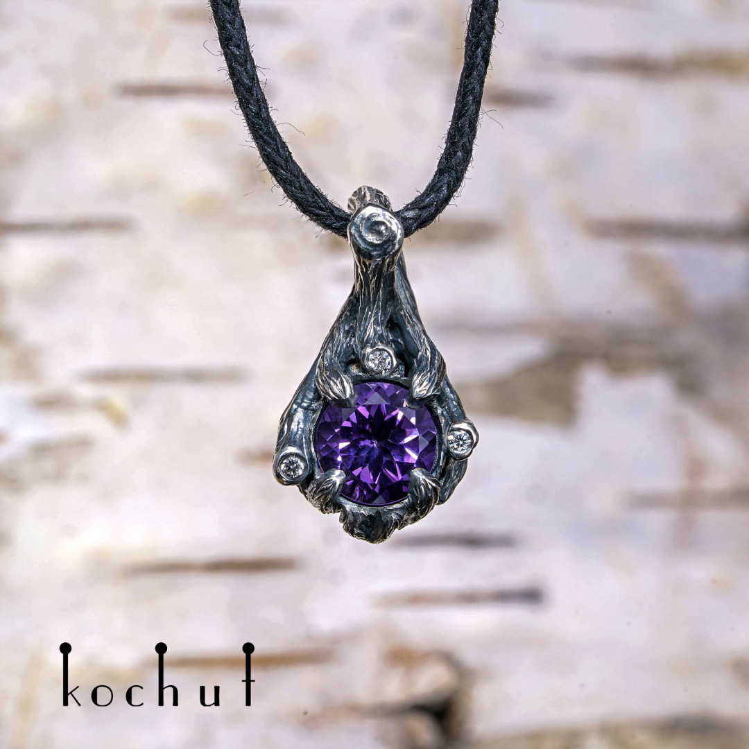 "Pendant ""The bewitched forest"". Silver, amethyst, cubic zirkonia"