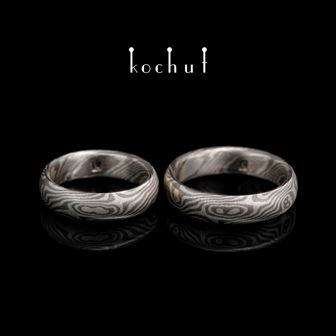 Mokume wedding rings «Sophora». Palladium gold, silver