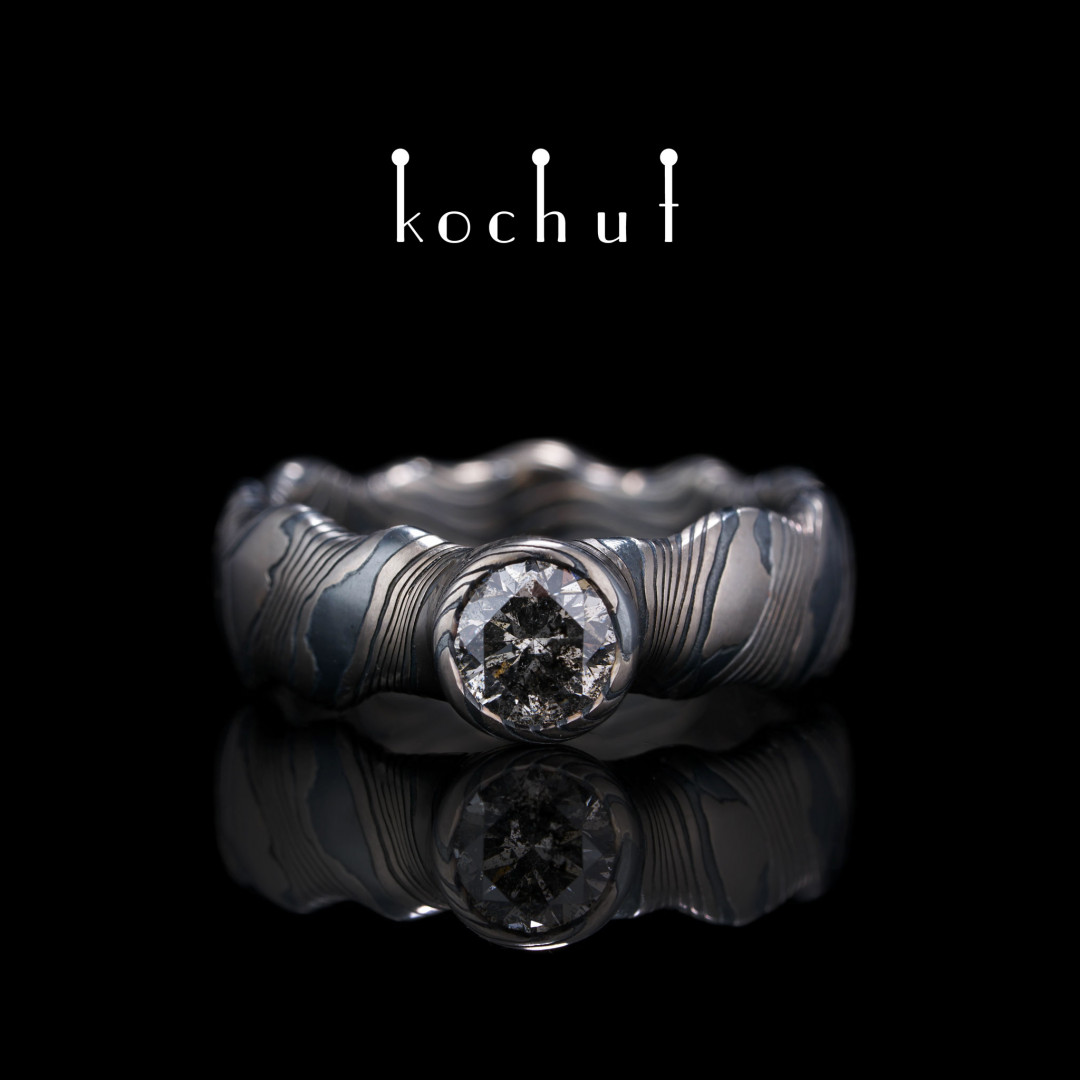 Mokume ring «Northern Lights» (seamless). Palladium gold, etched silver, diamond