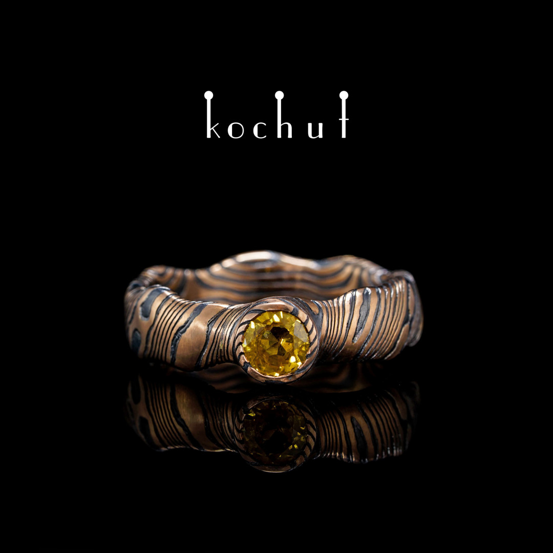 Mokume ring «Northern Lights» (seamless). Red gold, etched silver, green