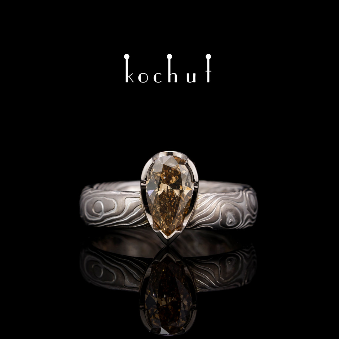 Mokume ring «Ikigai». Palladium gold, etched silver, diamond