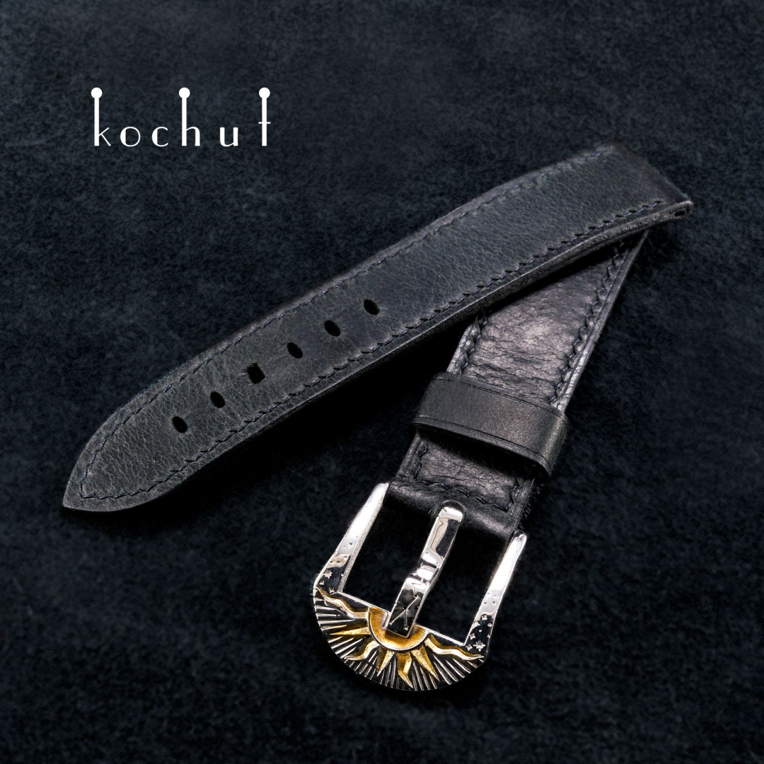 Leather strap for the clock «Nobility». Silver, leather, white rhodium, gilding