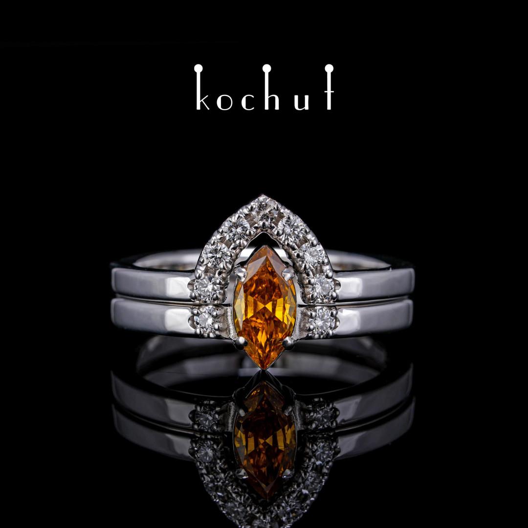 Double ring «Merida». White gold, diamonds, white rhodium