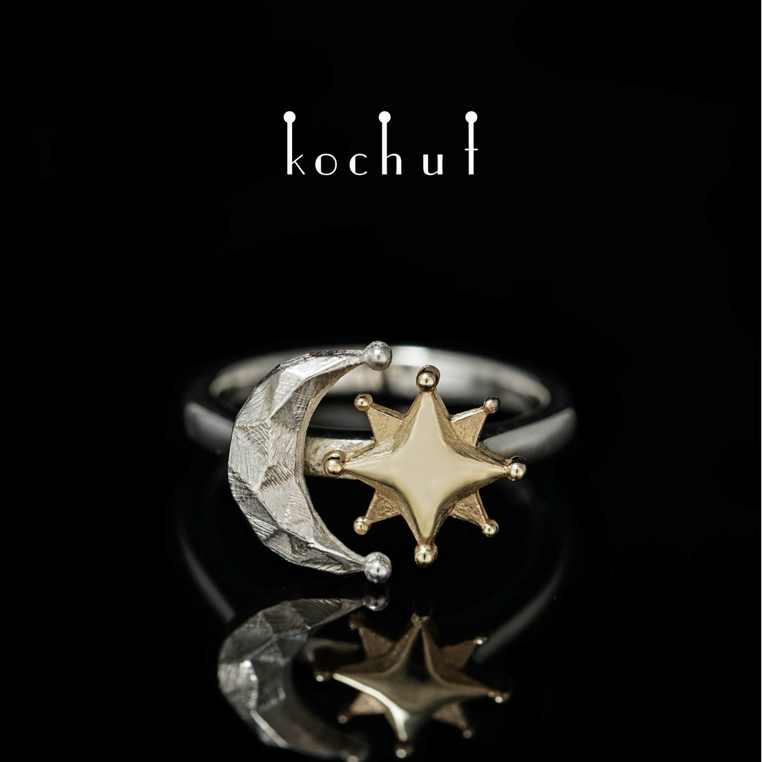 Ring «The Sun and the Moon.» Yellow gold, silver