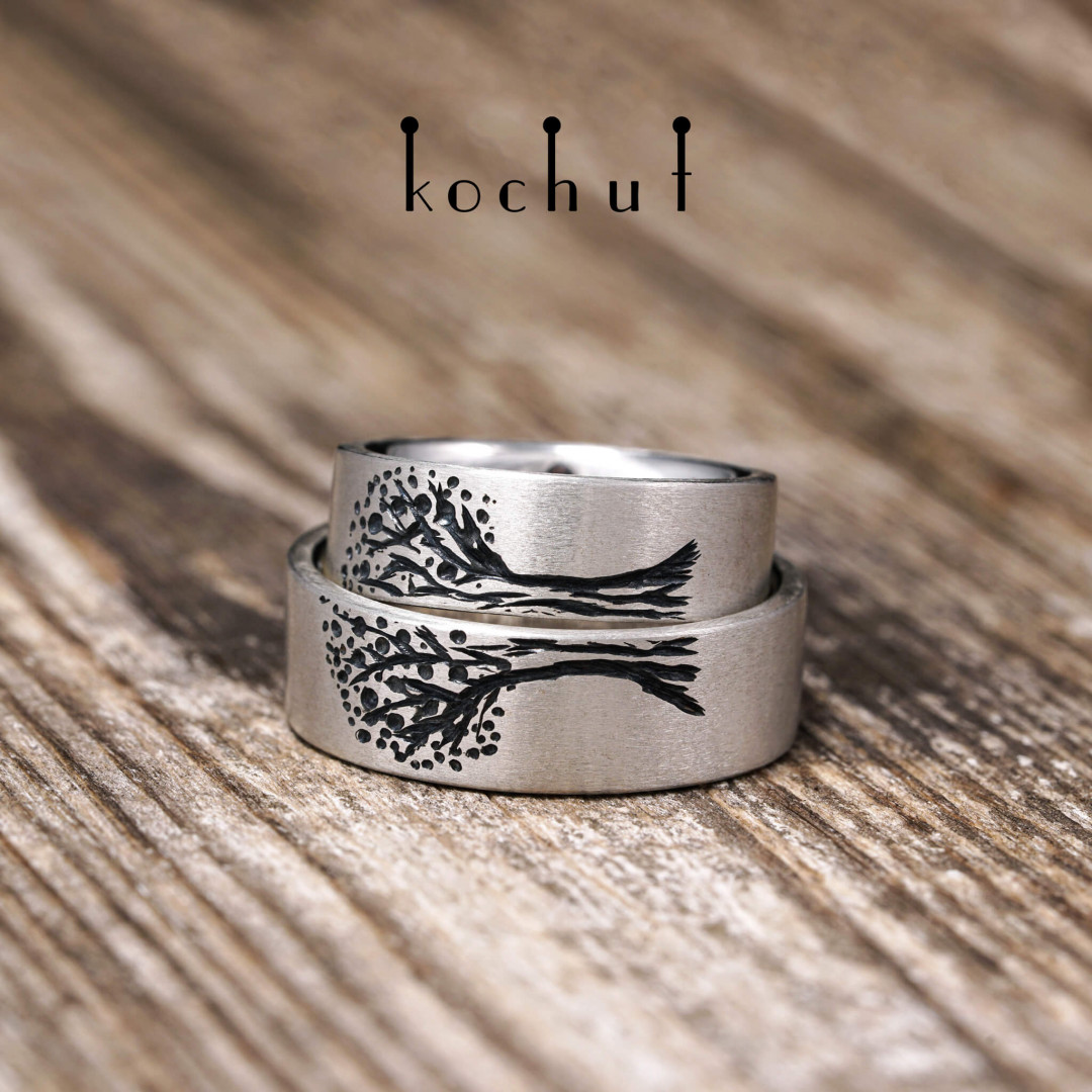 Rings «Tree of Life. Halves». Silver, oxidation