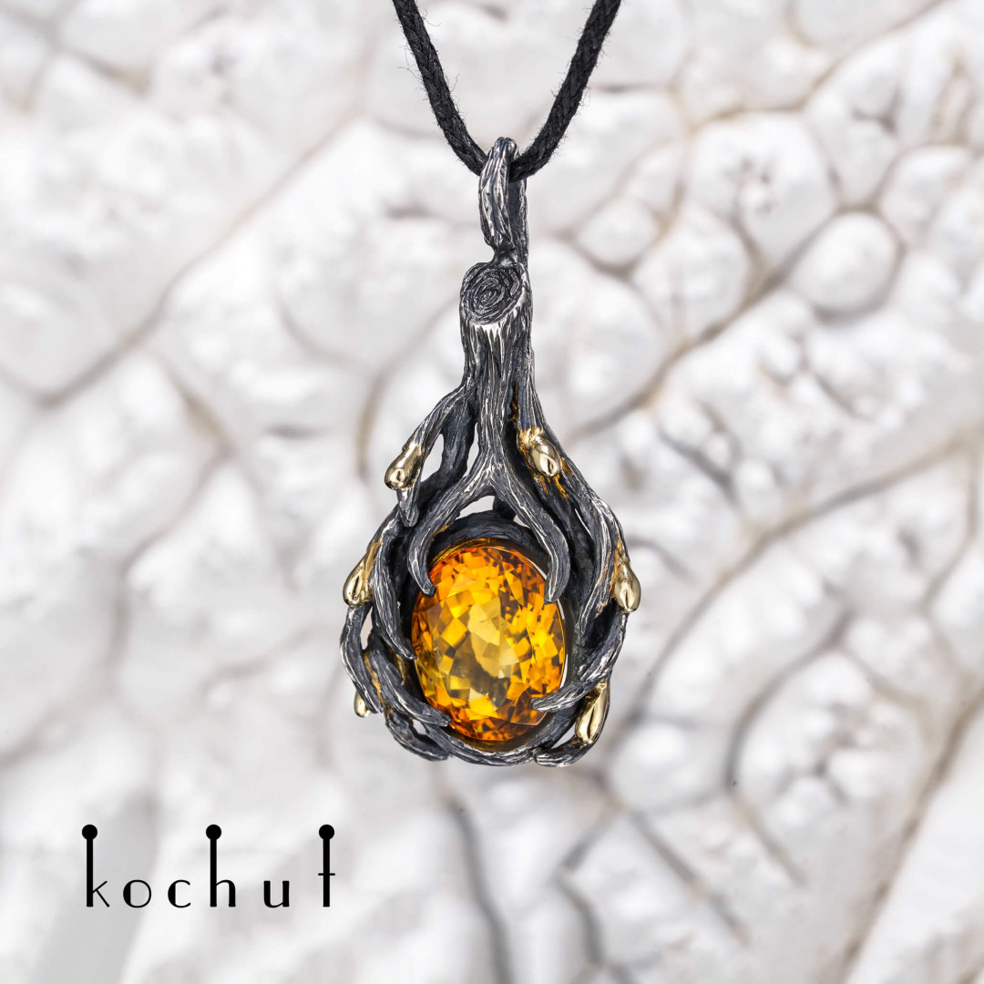 In an instant — pendant made of yellow gold, silver and with citrine