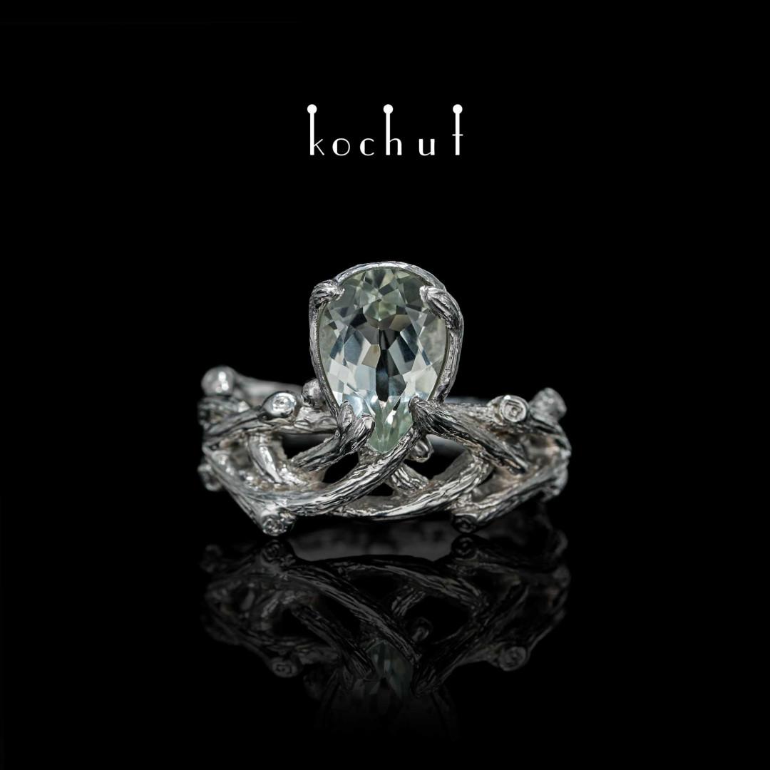 Ring «Galadriel». Silver, green amethyst, white rhodium