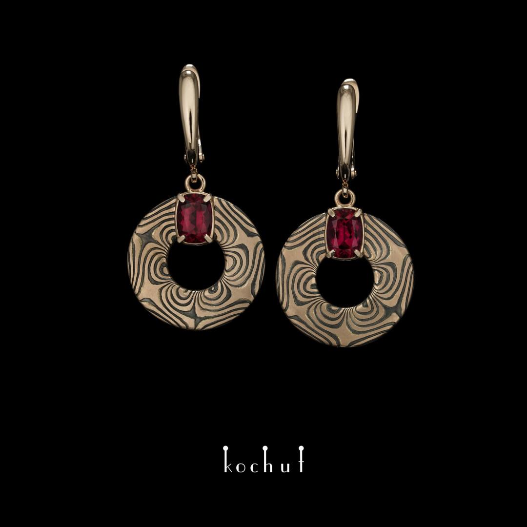 Precious astrolabe — mokume set with rubellite tourmalines
