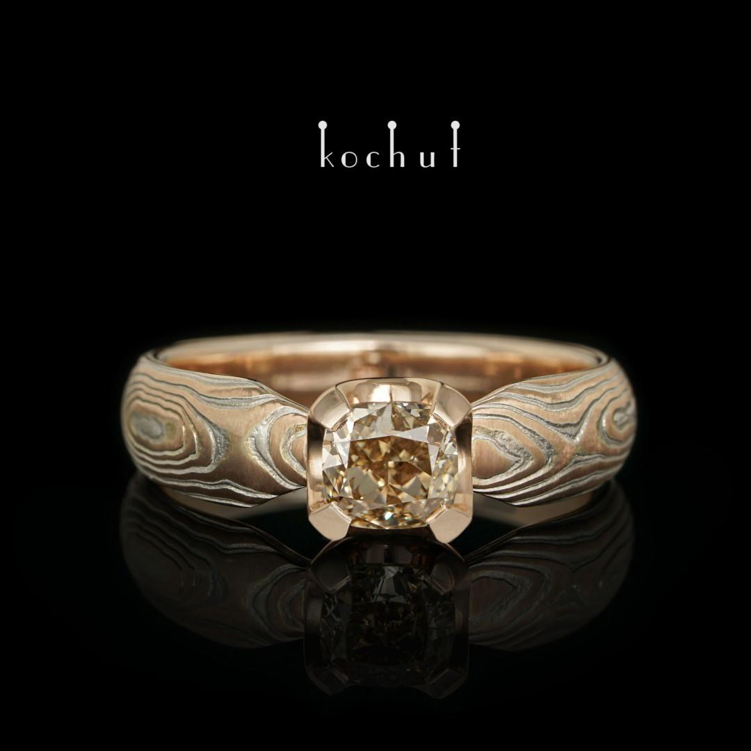 Mokume ring «Shibuy». Red gold, etched silver, diamond