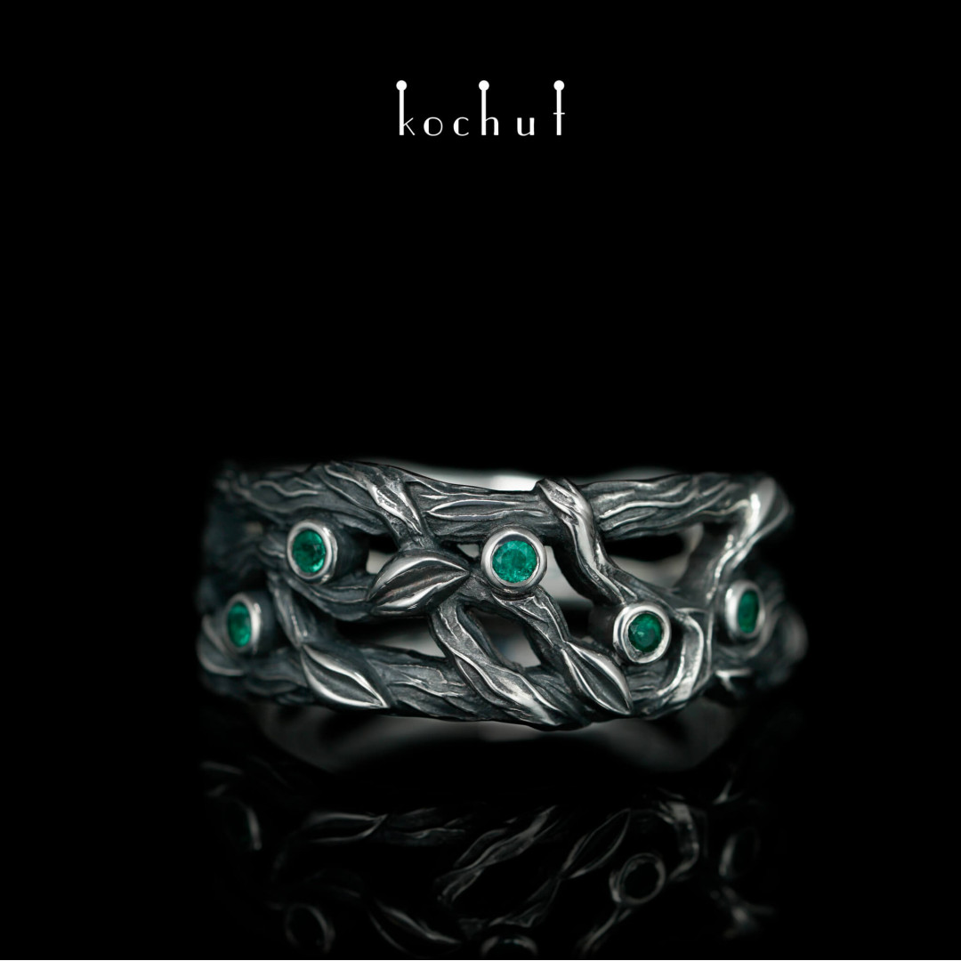 Ring «Forest Veil». Silver, emeralds, oxidation