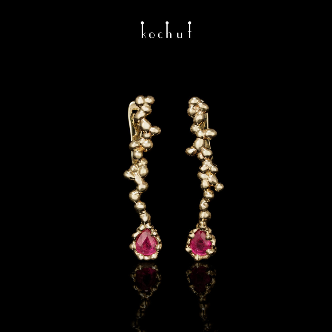Earrings «Flower Explosion». Yellow Gold, rubies