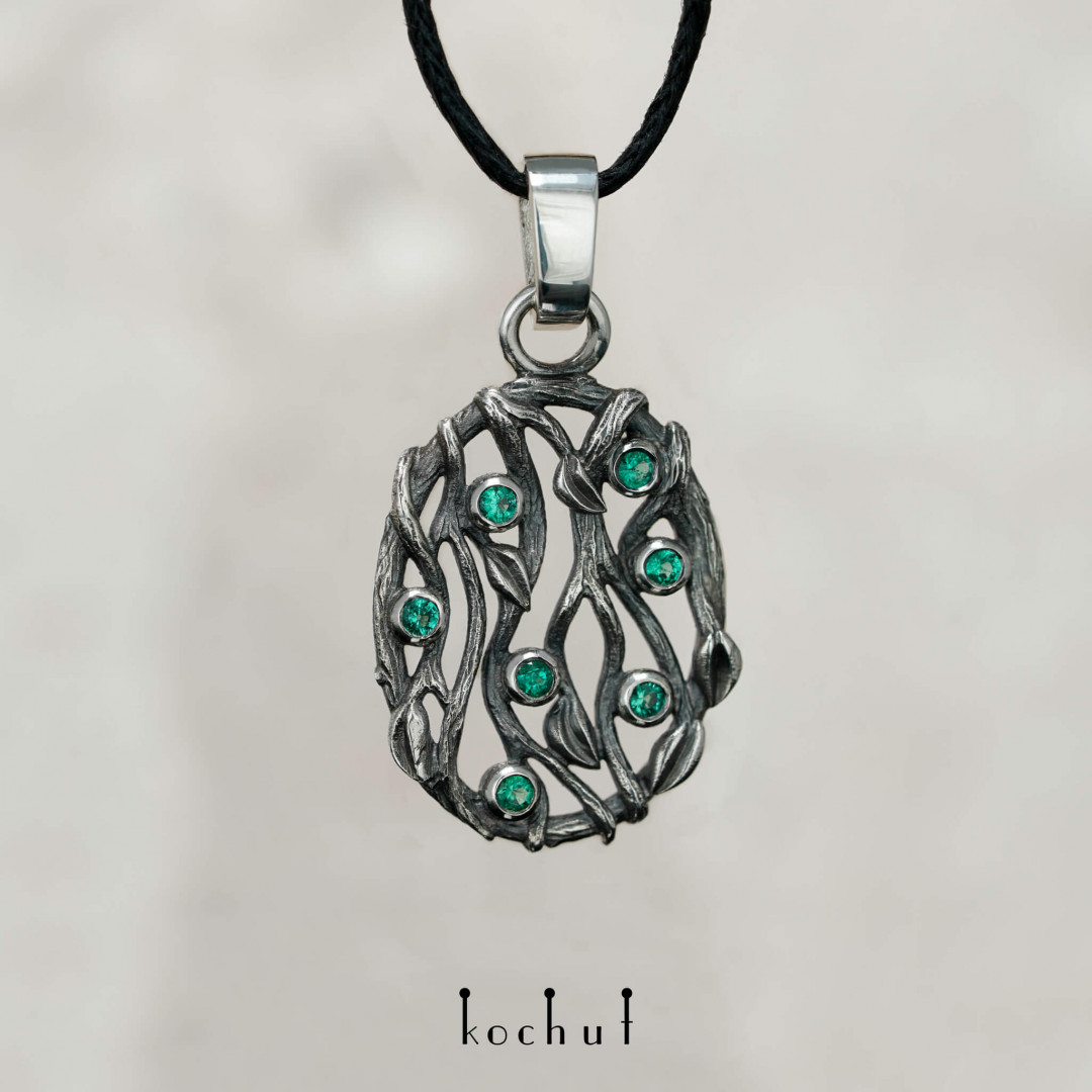 Forest Veil — silver pendant with emeralds