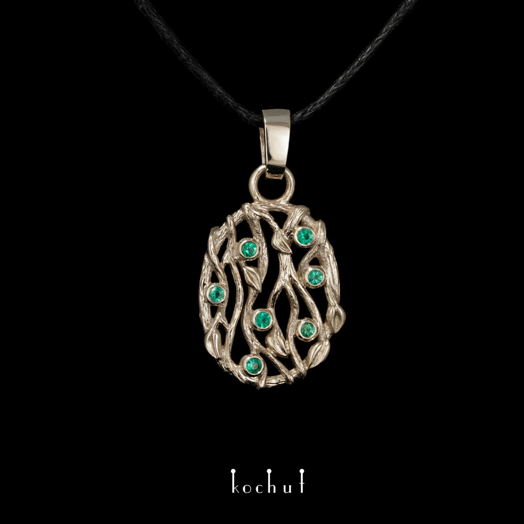 Pendant «Forest Veil». White gold, emeralds