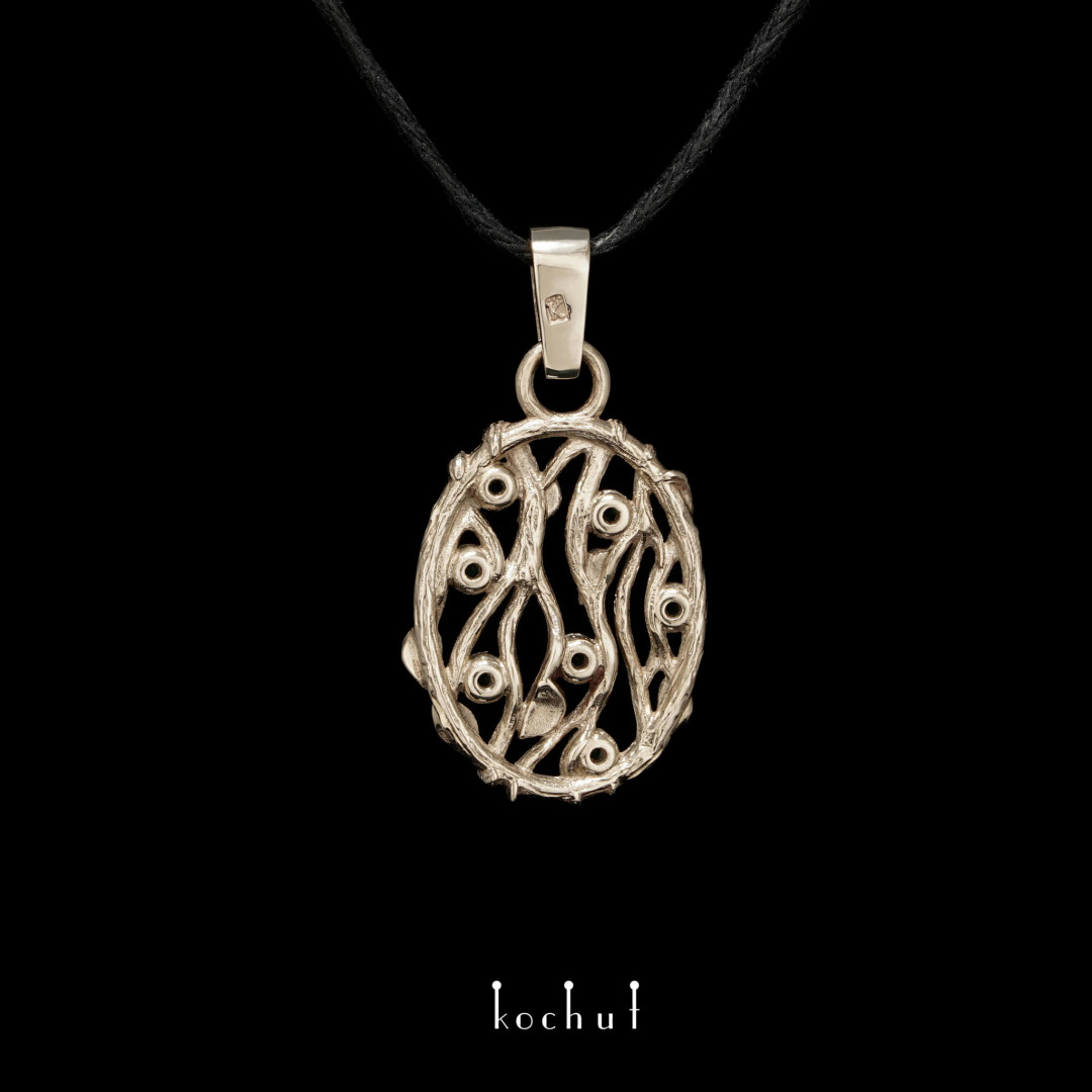 Forest Veil — gold pendant with emeralds