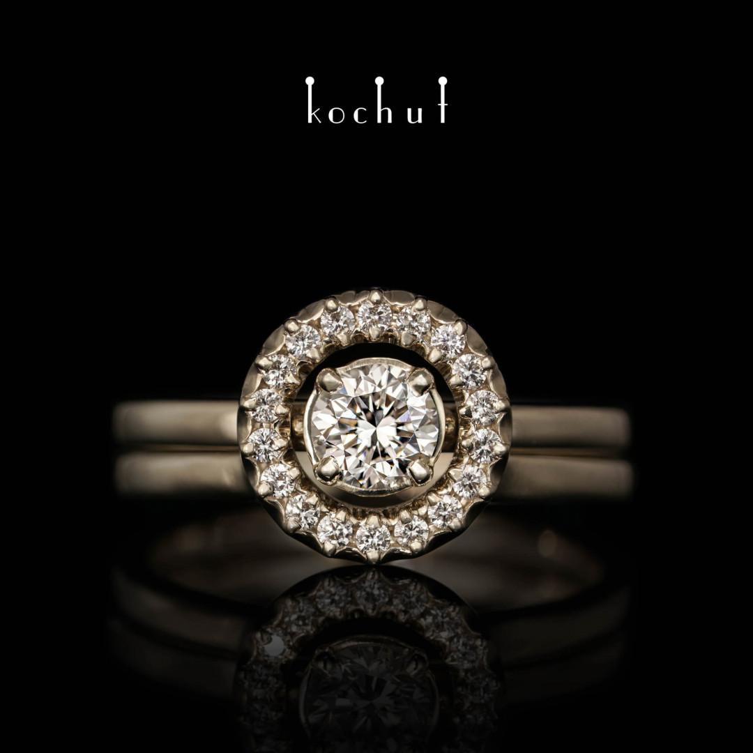 Engagement ring «Radiance ofthe Galaxy». White gold, diamonds