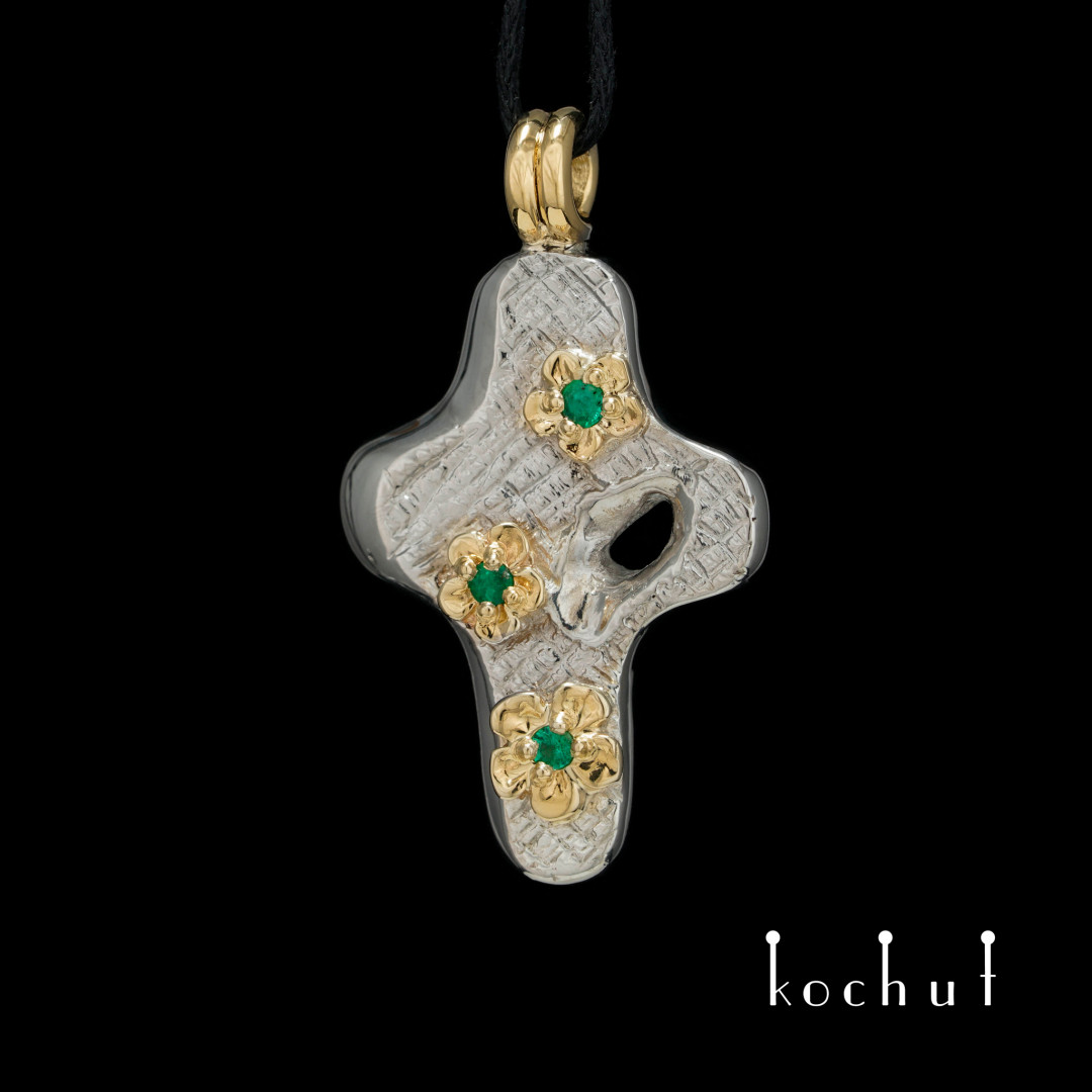 "Cross ""Delight of the Soul"". Silver, gold, white rhodium, emeralds"