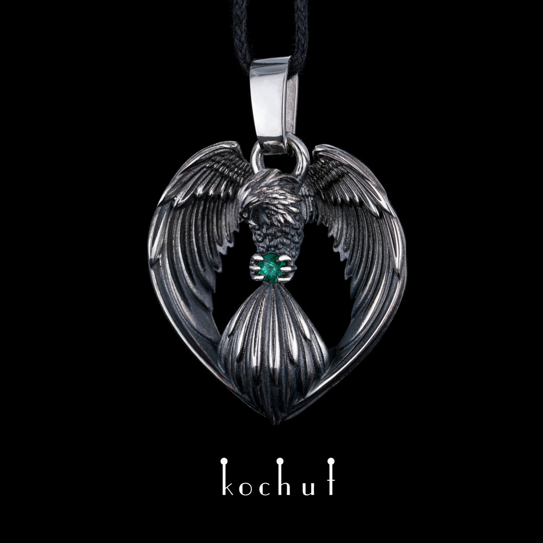 Phoenix — silver pendant with a emerald