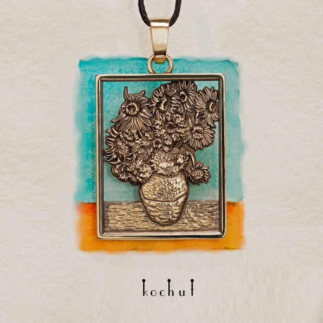 Sunflowers Van Gogh — gold pendant with black rhodium