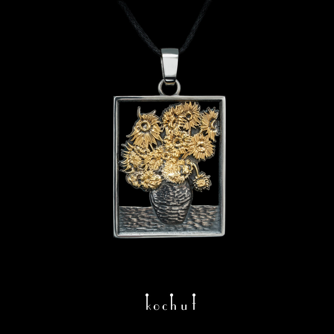 Sunflowers Van Gogh — pendant made of silver, oxidation and gilding