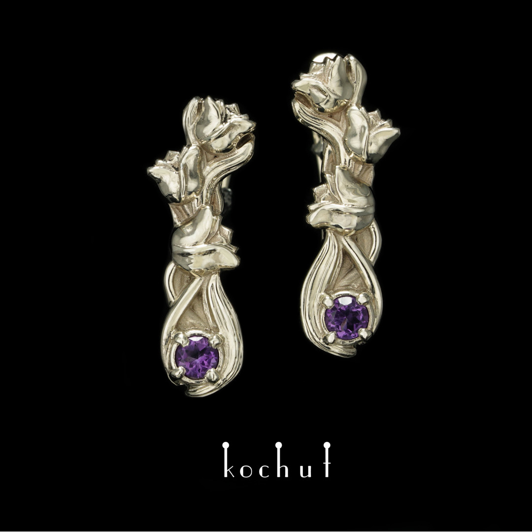 Earrings with an English clasp «Petals». White gold, amethyst