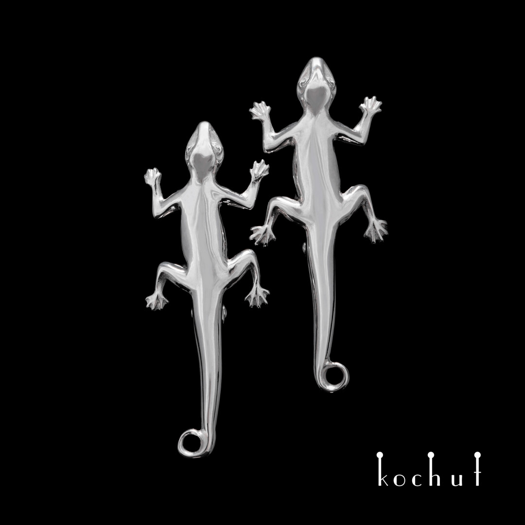 Earrings «Salamander». Silver, white rhodium