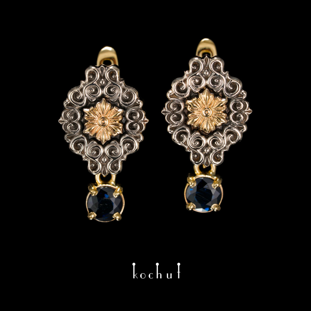 Earrings «Notre Dame». White, yellow gold, black rhodium, sapphires